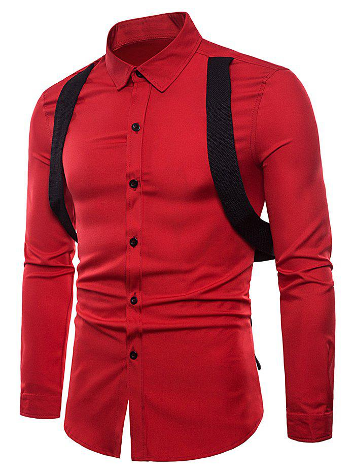 Casual Shirt with Gallus Decoration - RED S