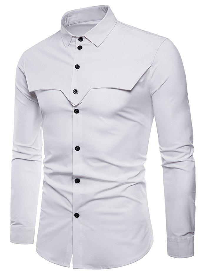Button Up Tailored Cloth Decorated Shirt - WHITE XL