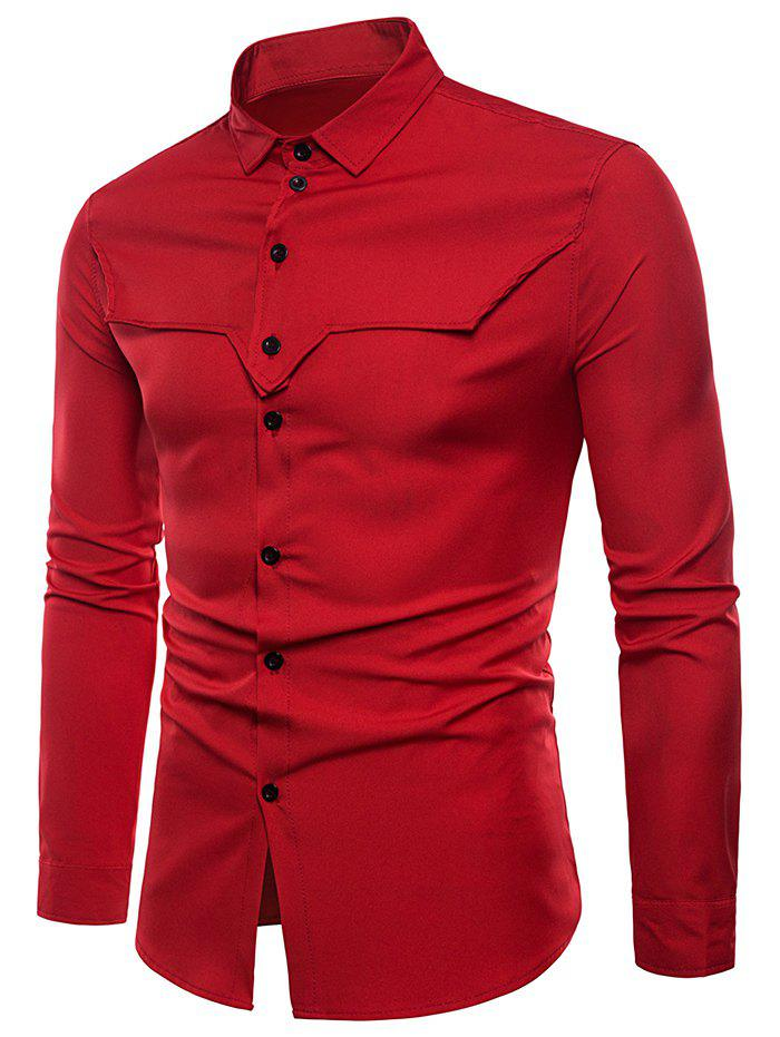 Button Up Tailored Cloth Decorated Shirt - RED 2XL