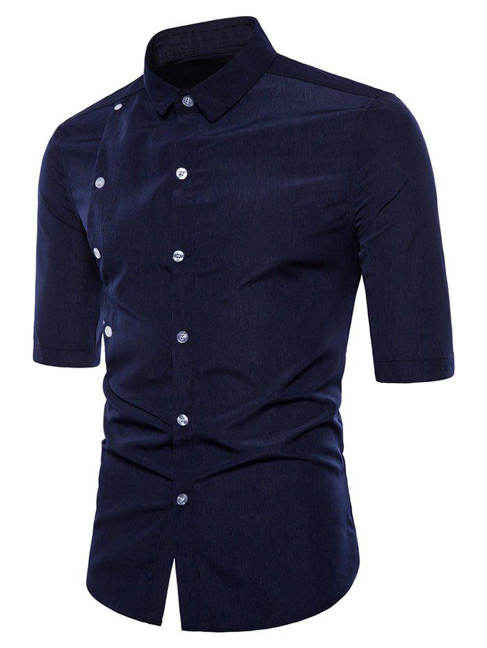 Slim Fit Button Embellished Half Sleeve Shirt - NAVY BLUE XL