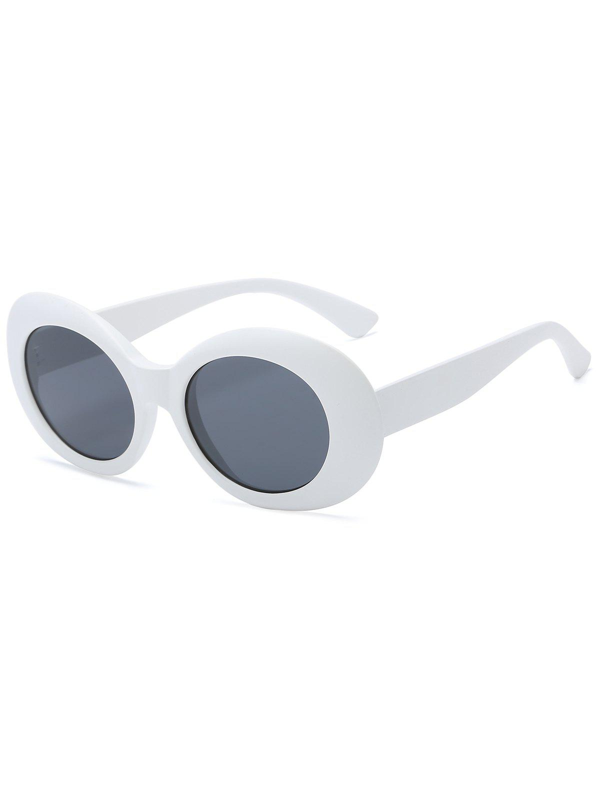 Anti Fatigue Plastic Frame Oval Sunglasses - WHITE