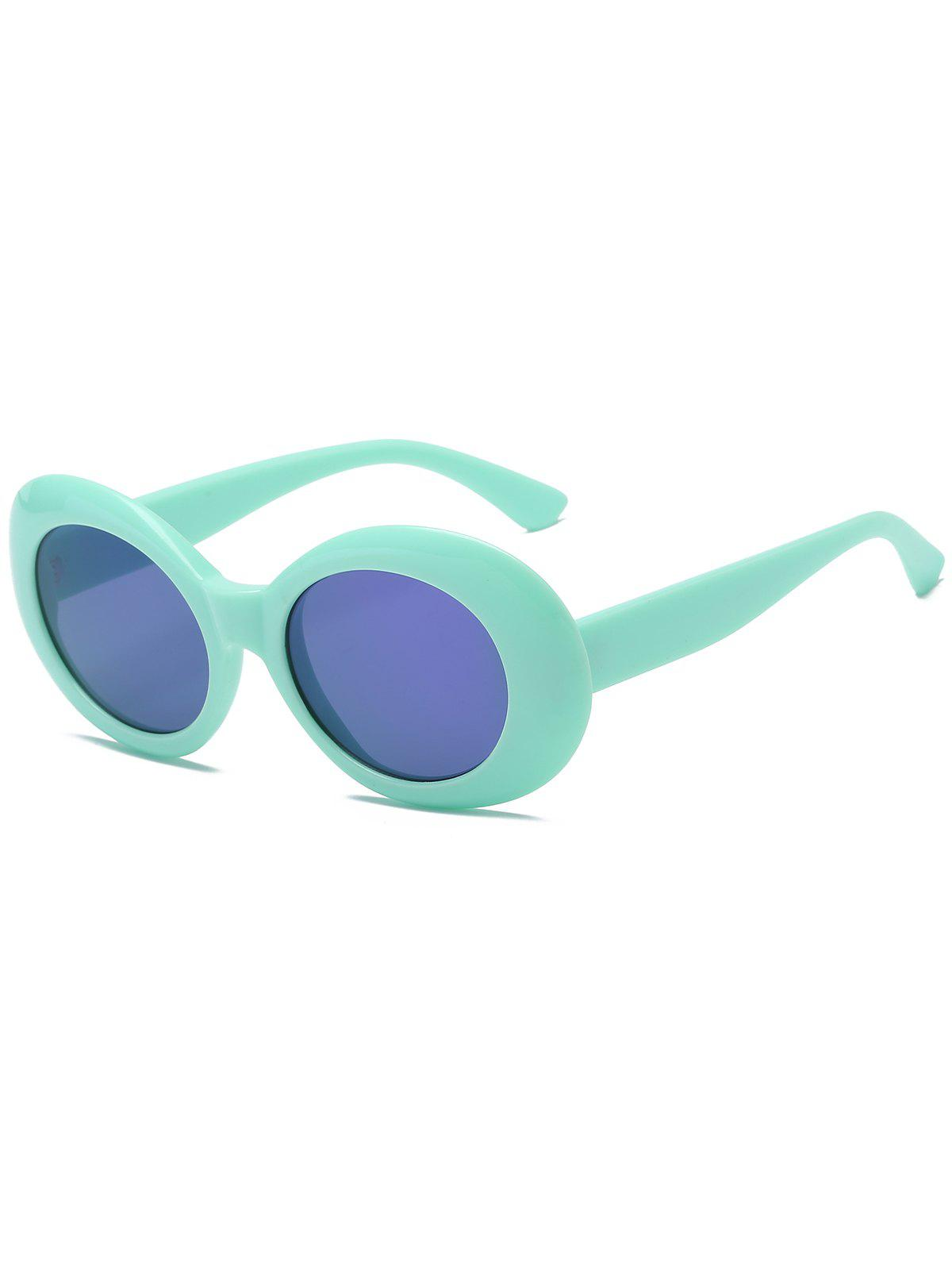 Anti Fatigue Plastic Frame Oval Sunglasses - TURQUOISE