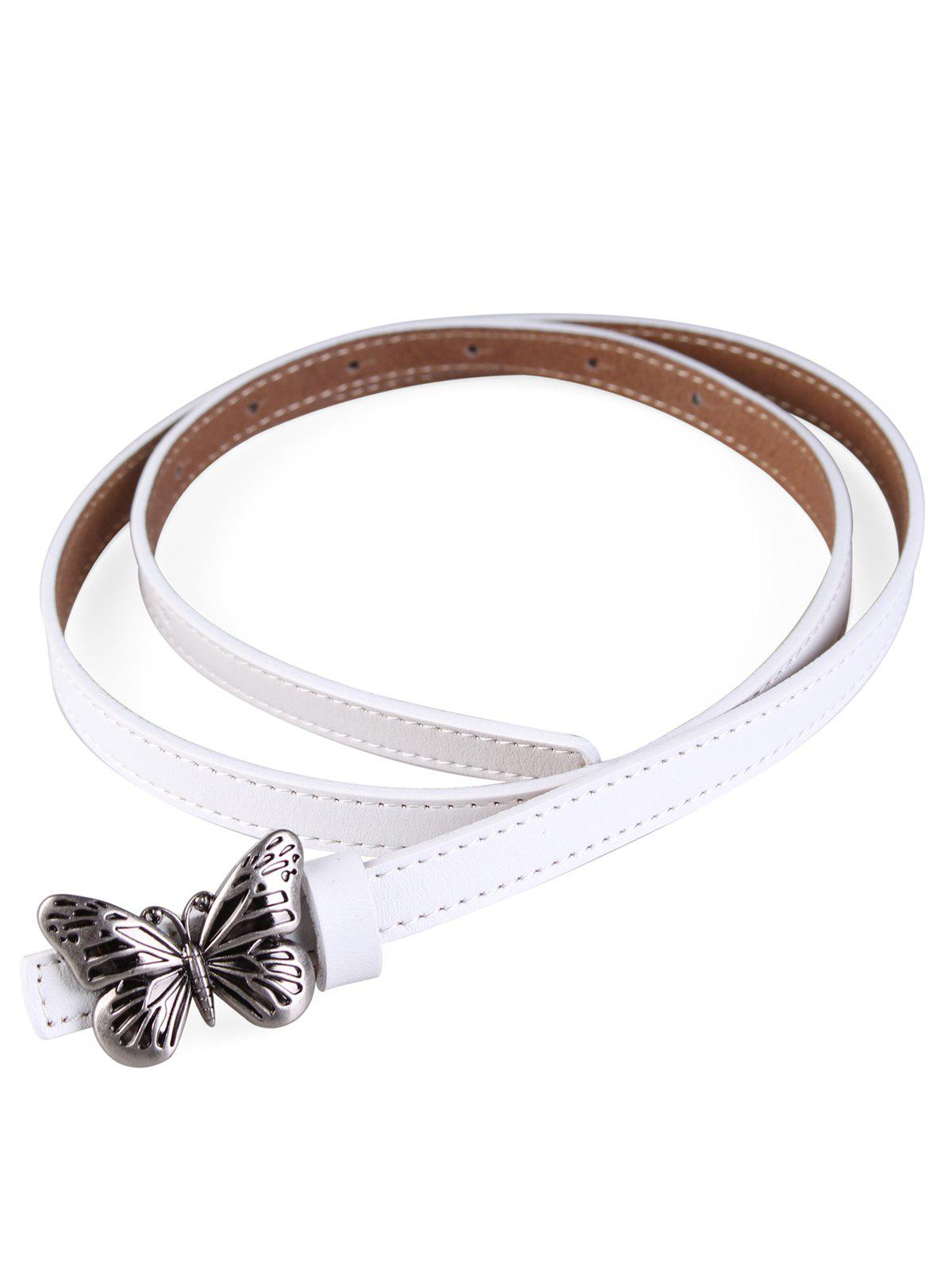 Metal Butterfly Buckle Artificial Leather Skinny Belt - WHITE