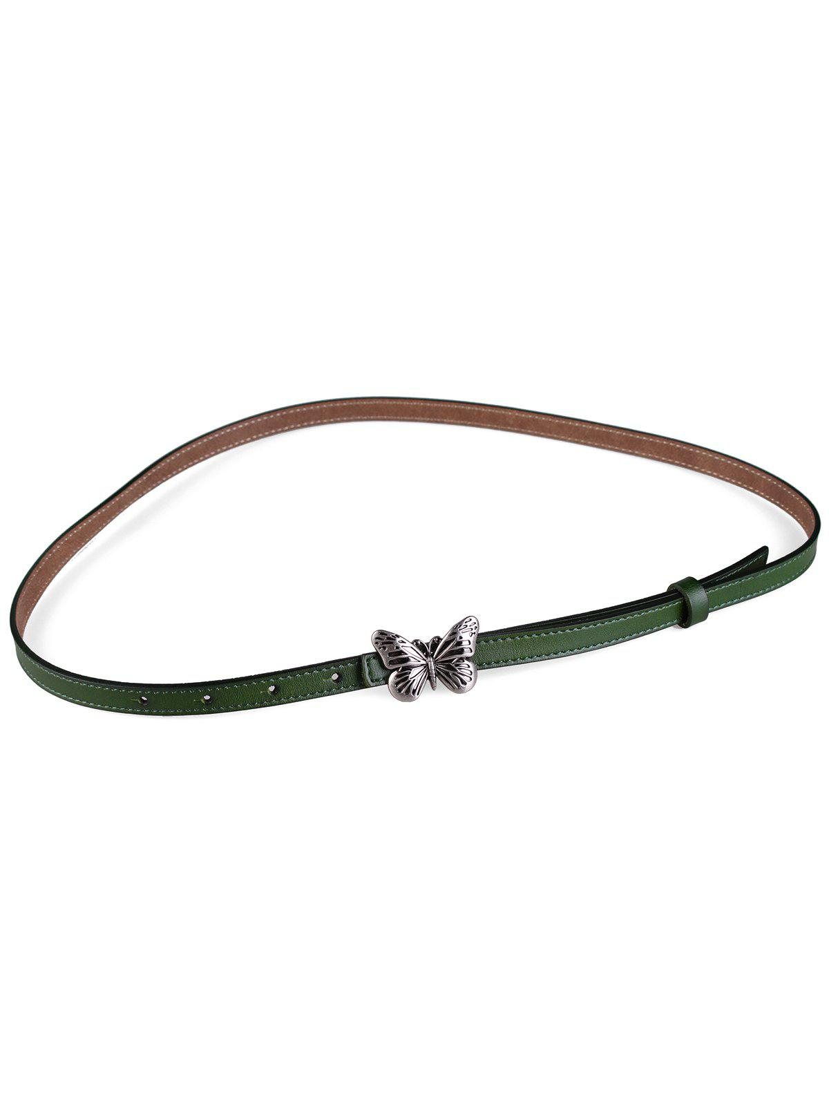 Metal Butterfly Buckle Artificial Leather Skinny Belt - MEDIUM SEA GREEN