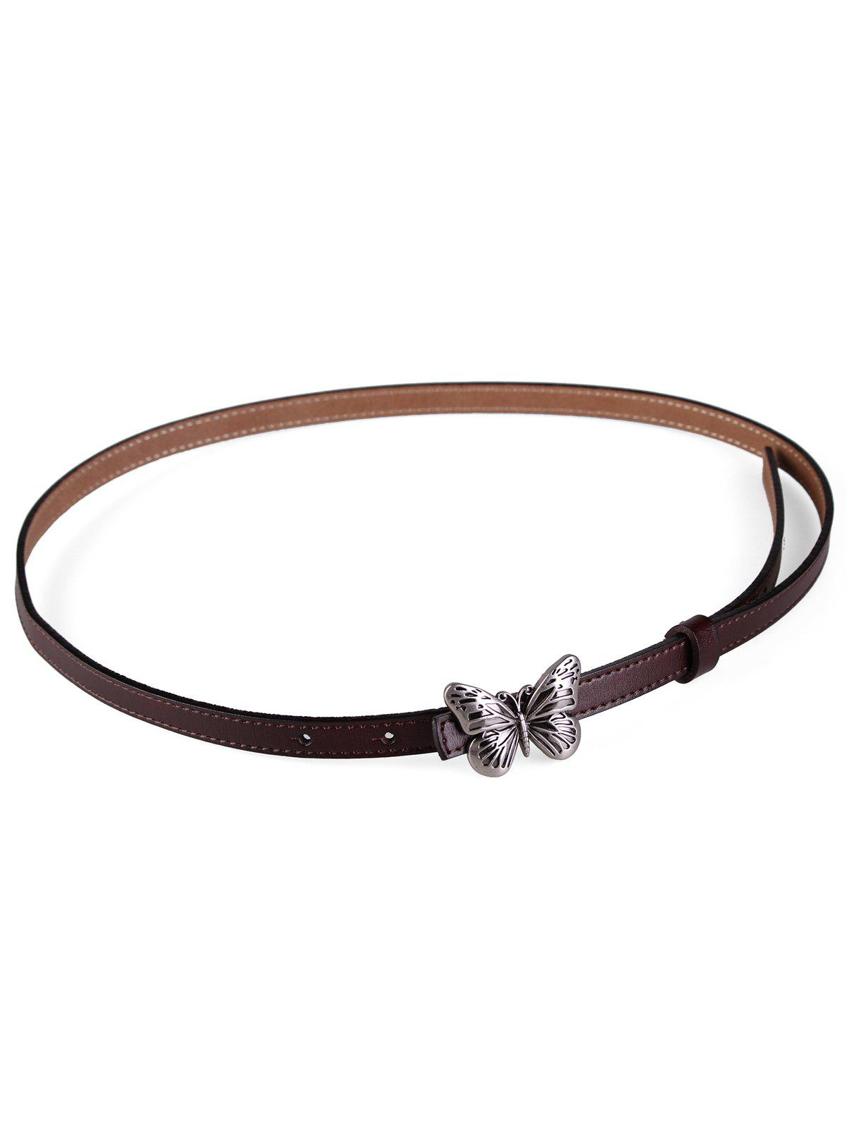 Metal Butterfly Buckle Artificial Leather Skinny Belt - COFFEE