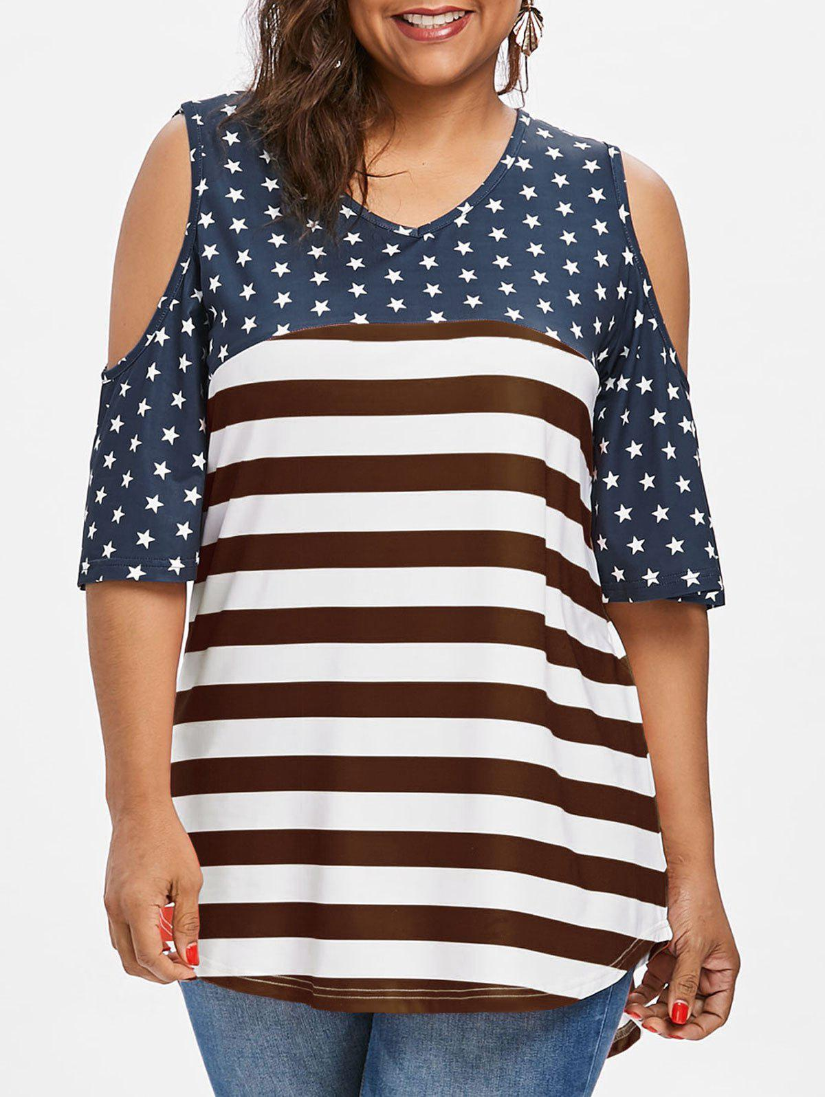 Plus Size American Flag High Low T-shirt - RED WINE L