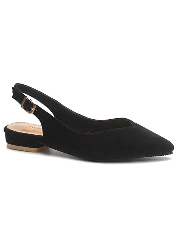 Pointed Toe Slingbacks Low Heels - BLACK 37