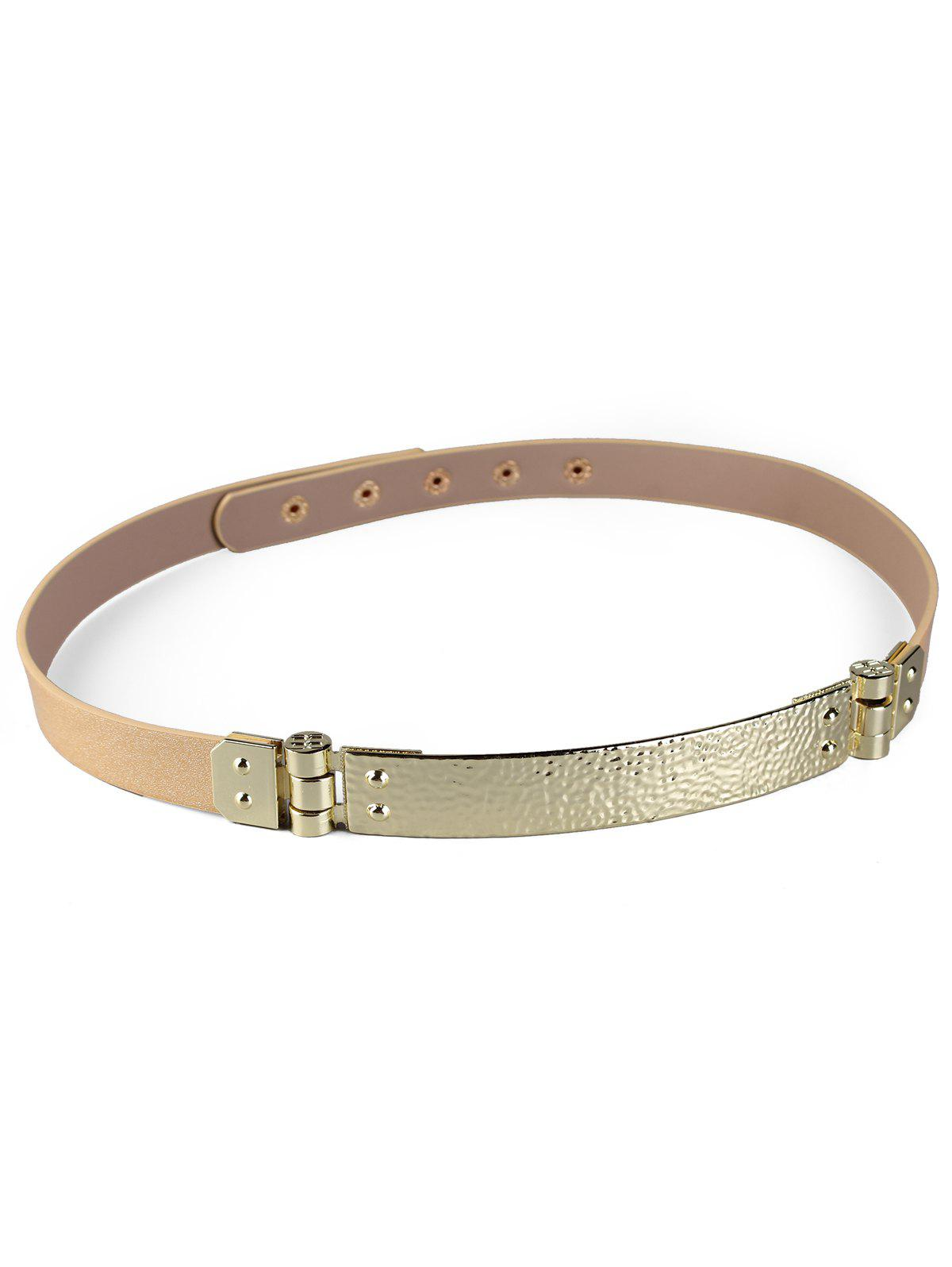 Unique Glitter Metal Bar Artificial Leather Skinny Belt - APRICOT