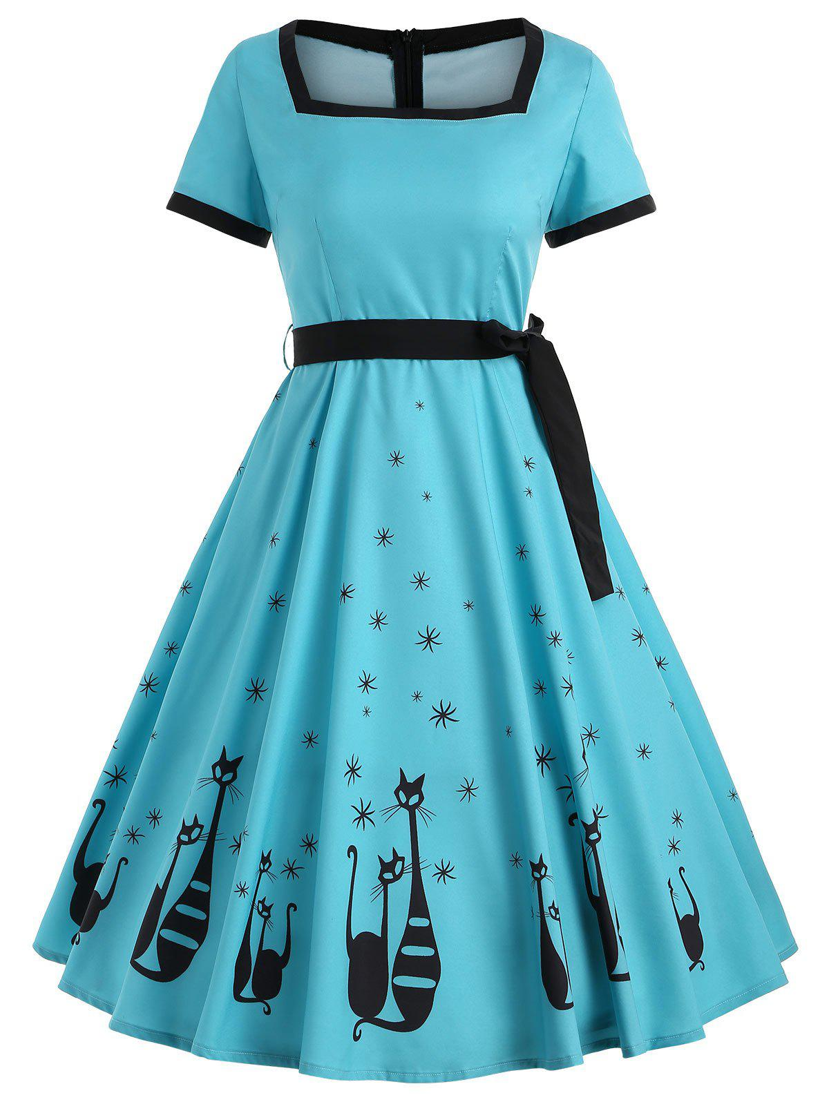 Cat Print Vintage Swing Dress with Belt