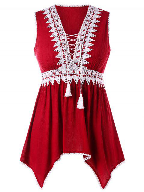 Plus Size Pom Trim Lace Up Tank Top - RED L