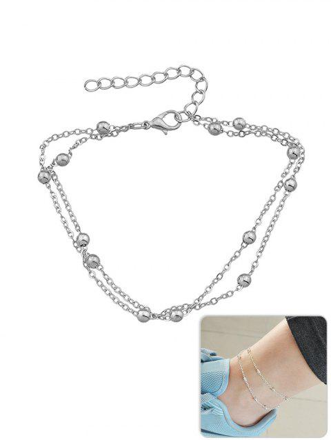Metal Beads Designed Layered Anklet Chain - SILVER
