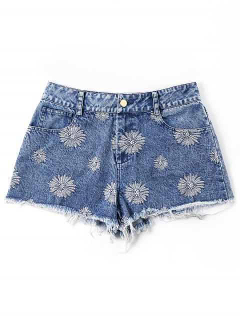 Short En Denim à Ourlet Effiloché Brodé - Bleu 2XL