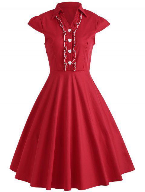 Buttoned Cap Sleeve Midi Flare Dress - RED M