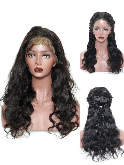 Center Parting Long Wavy Lace Front Synthetic Wig - NATURAL BLACK
