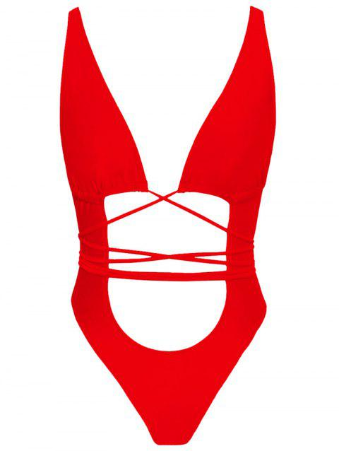 Cut Out Strappy One Piece Swimsuit - RED XL