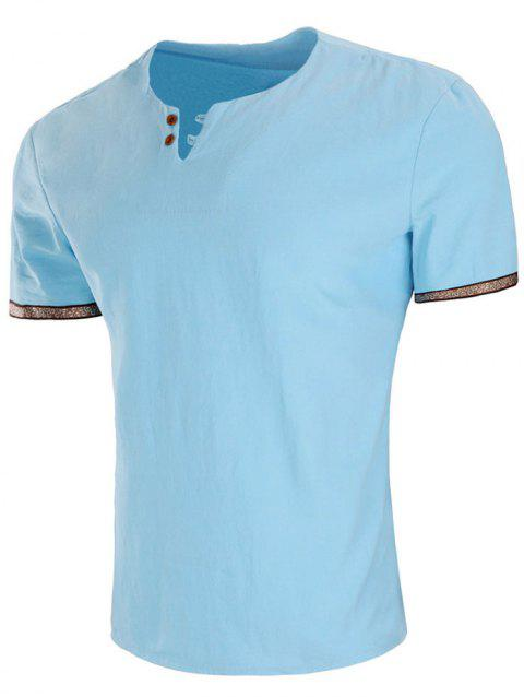 Embroidery Design Sleeve Double Button T-shirt - SKY BLUE L