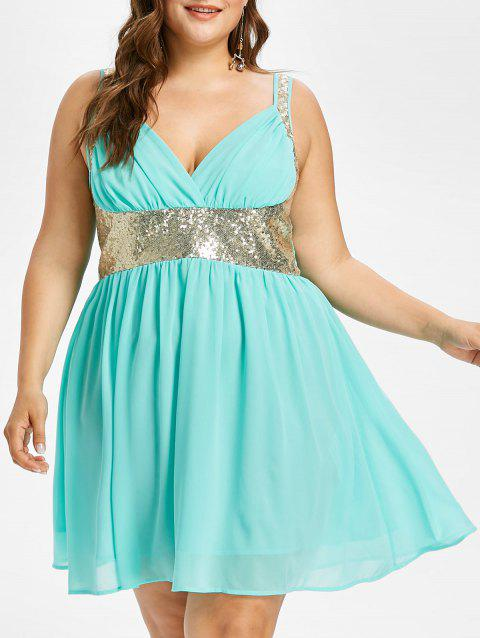 Plus Size High Waisted Sequins Trim Dress - ELECTRIC BLUE 5X
