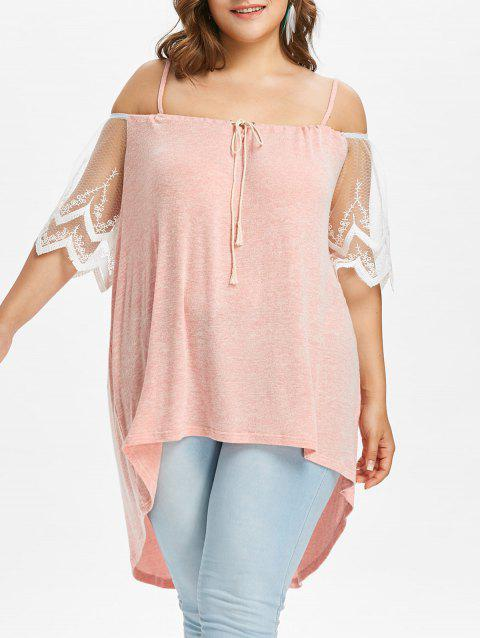 Plus Size Open Shoulder High Low Blouse - LIGHT PINK 4X