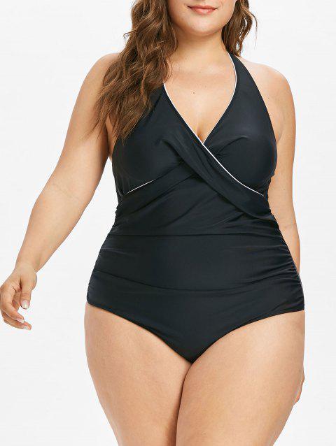 Plus Size Contrast Piping Ruched Swimsuit - BLACK 4X