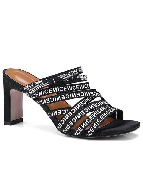 Letters Strappy Leisure High Heel Mules Shoes - BLACK 41