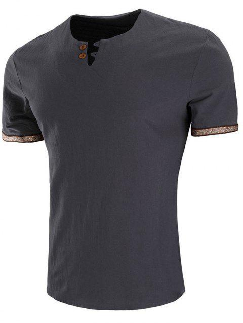 Embroidery Design Sleeve Double Button T-shirt - VAMPIRE GRAY 2XL