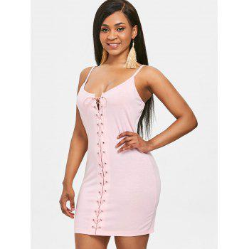 Bodycon Eyelet Lace Up Dress - LIGHT PINK S