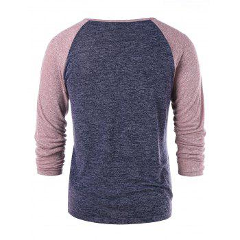 Long Sleeve Buttons Baseball Tee - GRAY M