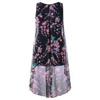 Plus Size Dip Hem Floral Sleeveless Top - BLACK L