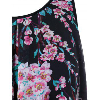Plus Size Dip Hem Floral Sleeveless Top - BLACK 1X