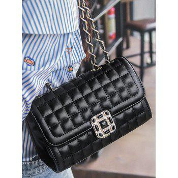 Double Flap Metal Chain Classic Crossbody Bag - BLACK