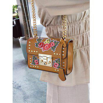 Vintage Floral Embroidery Patchwork Crossbody Chain Bag - BROWN