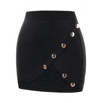 Plus Size Lace Panel Bodycon Skirt - BLACK 2X