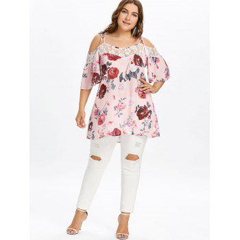 Lace Trim Plus Size Floral Printed Blouse - LIGHT PINK 1X