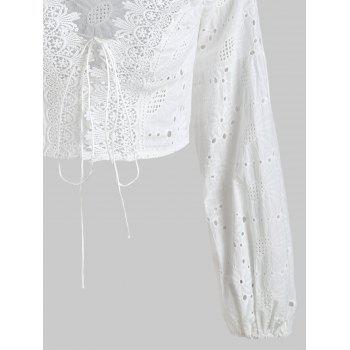 Eyelet Lace-up Off The Shoulder Top - WHITE L