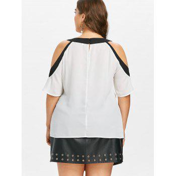 Plus Size Color Block Open Shoulder Blouse - WHITE 1X