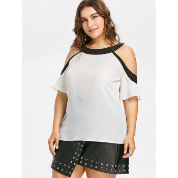 Plus Size Color Block Open Shoulder Blouse - WHITE L