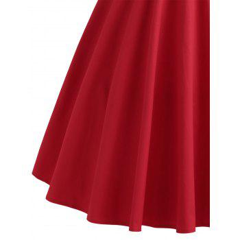 Buttoned Cap Sleeve Midi Flare Dress - RED S