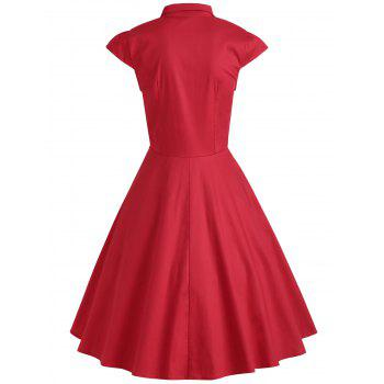 Buttoned Cap Sleeve Midi Flare Dress - RED XL
