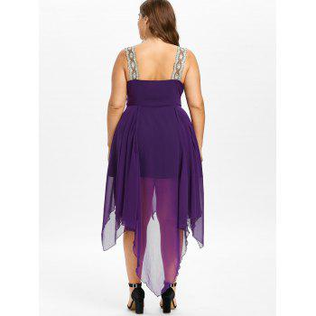Plus Size Plunging Neck Asymmetrical Dress - PURPLE 5XL