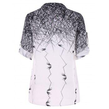 Casual Swallow Print Blouse - WHITE L