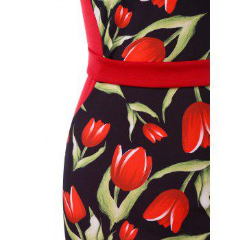 Rose Print Bodycon Vintage Dress - RED L