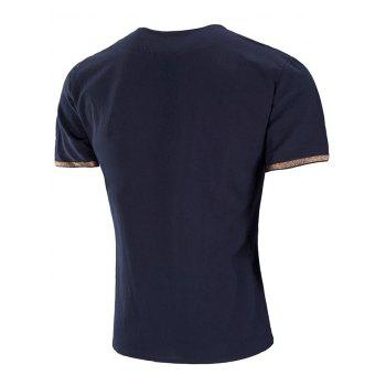Embroidery Design Sleeve Double Button T-shirt - NAVY BLUE 3XL
