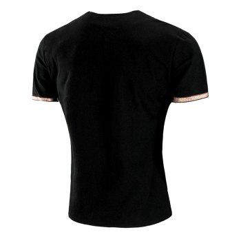 Embroidery Design Sleeve Double Button T-shirt - BLACK 2XL