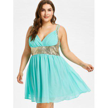 Plus Size High Waisted Sequins Trim Dress - ELECTRIC BLUE 1X