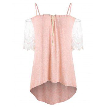 Plus Size Open Shoulder High Low Blouse - LIGHT PINK 5X