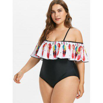 Plus Size Feather Cold Shoulder Swimsuit - RED L