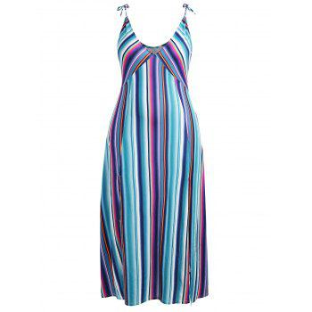 Plus Size Slit Striped Longline Dress - multicolor 5X