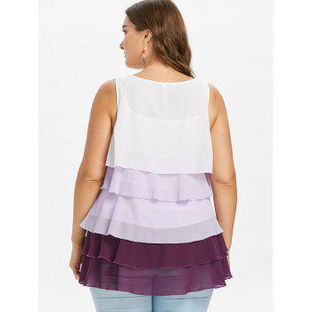 Sleeveless Layered Ruffle Plus Size Nursing Blouse - multicolor 1X