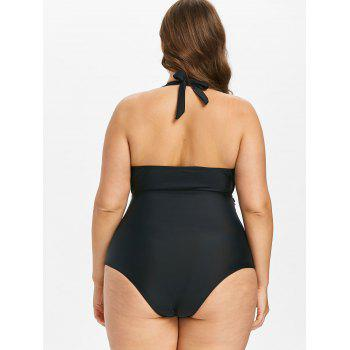 Plus Size Contrast Piping Ruched Swimsuit - BLACK L