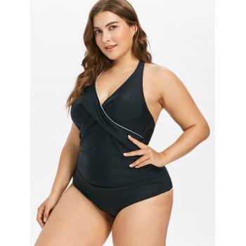Plus Size Contrast Piping Ruched Swimsuit - BLACK 2X